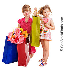 Children with shopping bag.