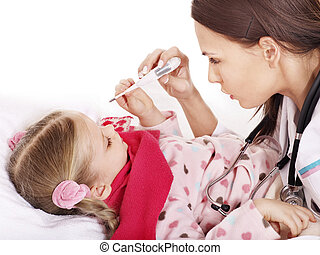 Doctor take child temperature - Doctor checking temperature...