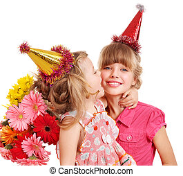 Children in party hat. - Little girl in party hat with stack...