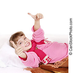 Sick child recovers. Isolated on white. - Sick child in bed...