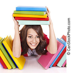 Girl with stack color book - Girl with stack color book...