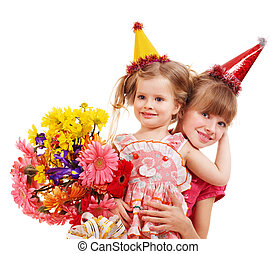 Children in party hat - Little girl in party hat with stack...