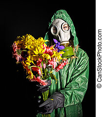 Woman in gas mask. - Woman in respirator. Radiation.