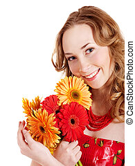 Happy young woman holding flowers. - Happy young woman...