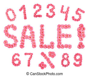 Sale and numbers's set of flowers. - Sale and numbers's set...