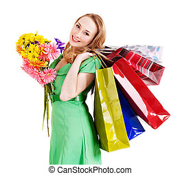 Young woman with shopping bag - Happy young woman with...