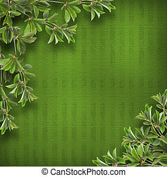 Deciduous tree branch on the background of abstract green...