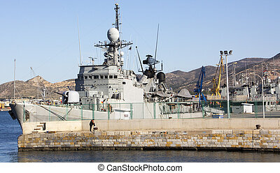 Navire guerre, moderne,  mines, sous-marin,  anti, fusils