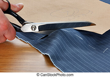 Cutting fabric for a suit - Photo of a piece of pinstripe...