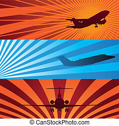Airplane Banners - Vector Illustrations of Airplanes in...