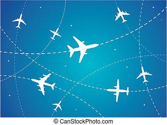 avión, rutas