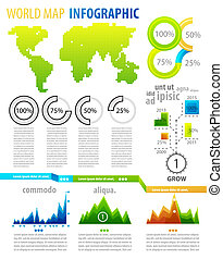 Infographic set - World map clean detail infographic element...