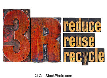 reduce, reuse, recycle - 3R concept - a collage of isolated...