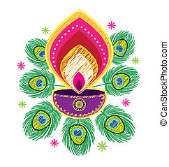 Indian Oil Lamp icon - Stock Vector Illustration: Sketch...