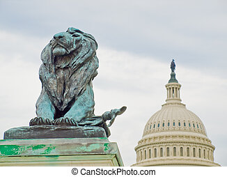 Lion Statue in Front of the US Capitol Building in Washington DC
