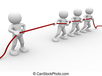 Rope pulling - 3d people - human character, person - rope...