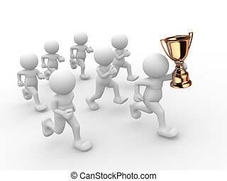 Trophy - 3d people - human character, person with a golden...