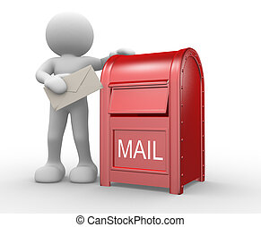 Letterbox - 3d people - human character, person with...