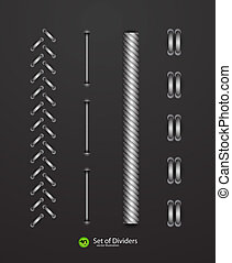 Vector dividers - Vector rope dividers on black