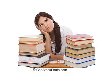 Hispanic college student woman with stack of books - bored...