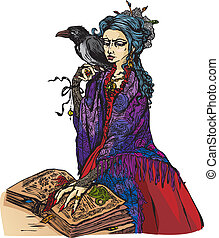 Woman witch with black raven