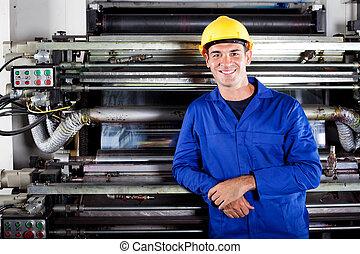 moderno, impresión, prensa, operador