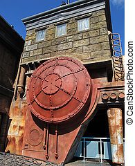 Old building with old rusty boiler