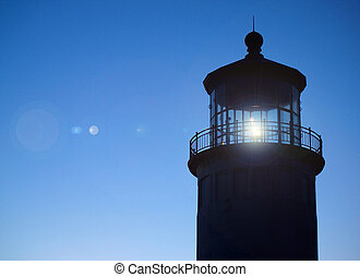 Light Shining in the North Head Lighthouse on the Washington...