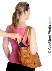 Pickpocketing of a mobile phone out of a handbag