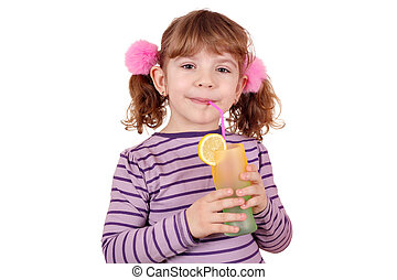 little girl drink lemonade - beautiful little girl drink...