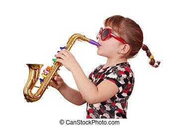 pequeno, menina, jogo, música