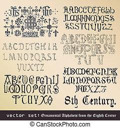 Wektor, set:, dekoracyjny, Abecadła, ósmy, wiek