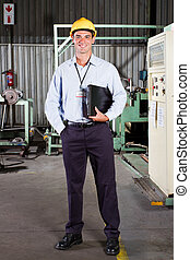 factory technical manager - full length portrait of factory...