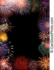 Colorful fireworks frame - Collage - beautiful colorful...