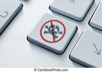 Anti Piracy Key - Anti piracy button on the keyboard. Toned...