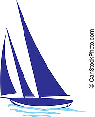 yacht silhouette - yacht regatta, boat on the wave