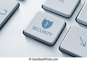 segurança, botão, ligado, teclado