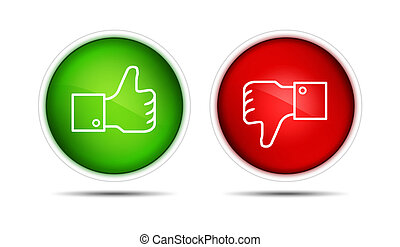 Thumb Up And Thumb Down Buttons - lIllustration of the thumb...
