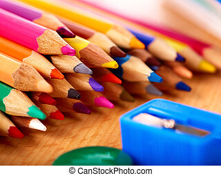Close up of school supplies - Close up of group art school...