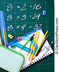 Multiplication table on board - School supplies with...