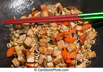 chinese wok with carrots,tofu,soybean sprouts