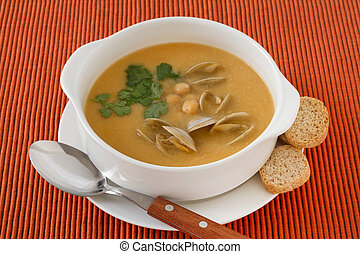 soup chickpea with seafood
