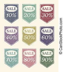 Vintage colourful sale icons set