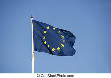 EU Flag towards blue sky