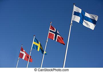 Scandinavian Flags - Scandinavian flags towards blue sky