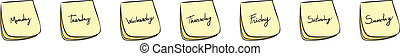 Weekdays Post-It Notes - Daily Post-It Notes With...