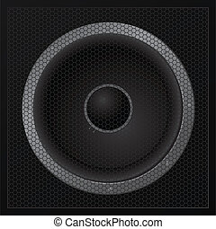 Black loudspeaker closeup - vector - One black loudspeaker...