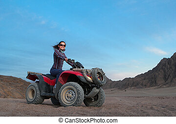 girl on atv - Pretty positive girl on atv on the desert...