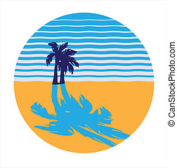 tropical beach - vector image in the form of a circle. sandy...