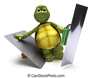 Tortoise with plastering tools - 3D render of a Tortoise...